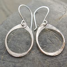 Sterling Silver Simple Dangle Earrings - Oval Hoop Dangle Earrings by mymusejewelry on Etsy