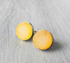Druzy earrings Yellow druzy Stud earrings by jennleeluxe