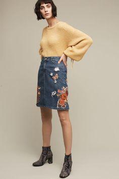 Cecilia Prado Gardener's Denim Pencil Skirt, Blue