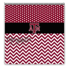 Personalized Texas A&M Shower Curtain, Texas AM, Polkadot, Chevron, Maroon, White, Black, Shower Curtain, College would be a great gift to your Aggie couple on their wedding day!  Follow thehowdyweddingguide on Instagran for more Aggie wedding shares!