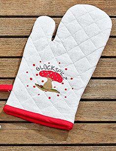 Topfhandschuh Benno Baumwolle weiß 16 x 32 cm Topflappen Ofenhandschuh Potholders, Cotton