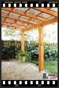 The pergola kits are the easiest and quickest way to build a garden pergola. There are lots of do it yourself pergola kits available to you so that anyone could easily put them together to construct a new structure at their backyard. Pergola With Roof, Wooden Pergola, Outdoor Pergola, Backyard Pergola, Pergola Kits, Backyard Landscaping, Pergola Ideas, Landscaping Ideas, Cheap Pergola