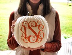Monogram a pumpkin this year Fall Halloween, Happy Halloween, Halloween Stuff, Seasonal Decor, Fall Decor, Just In Case, Just For You, Holiday Fun, Holiday Decor