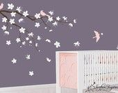 Nursery Wall Decals - Blowing Tree with Contemporary Cherry Blossom Flowers 110. $99.00, via Etsy.