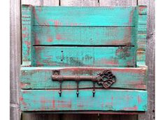 Shabby Rustic Reclaimed Pallet Wood Turquoise by SeasideRelics Diy Pallet Furniture, Diy Furniture Projects, Repurposed Furniture, Painted Furniture, Repurposed Wood, Repurposed Items, Furniture Redo, Pallet Crates, Pallet Shelves