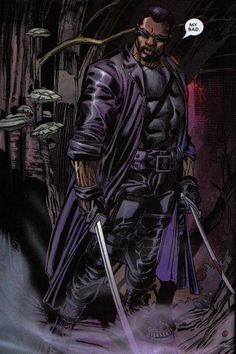 This image is of Marvel's half vampire Blade. Blade  was created by Marv Wolfman and Gene Colan. Despite being half vampire, Blade sides with the humans, and makes it his personal mission to eliminate all of the evil vampires. The Blade comics are dark and full of gore, making this anti hero comic series a perfect fit for horror comics.