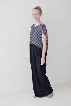 Maxikleid maritim, lang aus Jersey / comfy but elegant maxi dress, maritime, stripes by aempersand via DaWanda.com