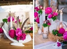 desert inspired tablescape featuring bright pink flowers and feathers in ceramic vases