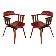 Pair Thonet Armchairs, upholstered in Red Leather with Brass Tack Trim. Masculine Apartment, Brass Tacks, Desiderata, Dining Chairs, Dining Room, Better Homes And Gardens, Sofa Chair, Modern Chairs, Armchairs