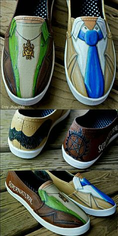 Supernatural Dean and Castiel hand painted shoes. Destiel outfit fan shoes with Castiel wings and an anti-possession symbol details. -- These are beautiful Supernatural Shoes, Supernatural Crafts, Supernatural Tv Show, Nerd Fashion, Fandom Fashion, Fashion Kids, Style Fashion, Womens Fashion, Fashion Trends