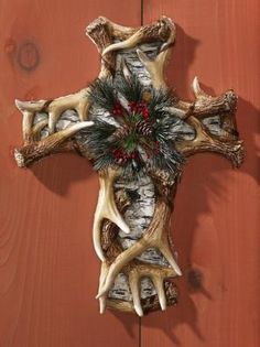 Antler & Birch Tree Holiday Wall Cross