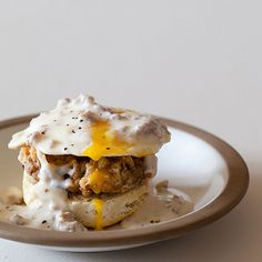 Our Country Style Eggs Benedict has a country biscuit with chicken fried steak, topped with a simple country gravy, and then a fried egg. Heaven on a plate.