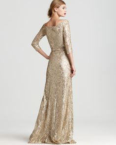 David Meister Gown - Three Quarter Sleeve Sequin - Dresses - Apparel - Women's - Bloomingdale's
