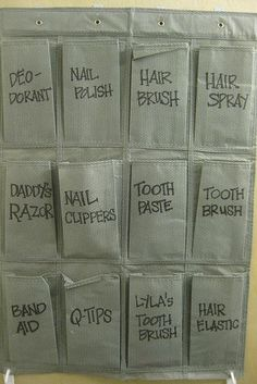 Small Bathroom Organize Using a shoe over-the-door organizer cut in half, hang it with command adhesive hooks and sharpie for labels.