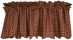 New Primitive Country Burgundy & Tan Check Scalloped Curtain Valance