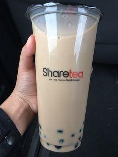Popping pearls premium milk tea at Sharetea Dunkin Donuts Coffee, Milk Tea, Fun Drinks, Glass Of Milk, Coffee Cups, Pearls, Coffee Mugs, Beads, Coffee Cup