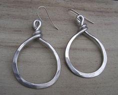 Big Bold Hoop Earrings - Light Weight Aluminum Wire - Big Hoop Earrings - Rustic Hammered Metal. $18.00, via Etsy.