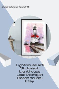 Lighthouse art St Joseph Lighthouse Lake Michigan Beach house   Etsy St Joseph Lighthouse, Lighthouse Art, Lake Michigan Lighthouses, Lake Michigan Beaches, Kids Room Wall Art, Nursery Wall Art, Garage Art, Modern Art Prints, Beach House Decor