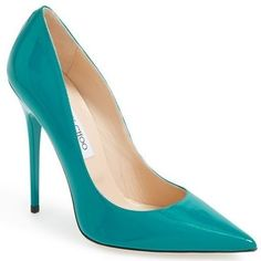 Pre-Owned Nib Jimmy Choo Anouk Pointy Toe Pump Turquoise Patent... (1,775 ILS) ❤ liked on Polyvore featuring shoes, pumps, blue, blue pumps, blue patent pumps, patent leather pumps, high heel pumps and blue high heel shoes