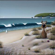 Ruff Surf by Simon Clarke Fork Art, Seaside Art, Whimsical Art, Illustrations, Dog Cat, Surfing, Digital Art, Framed Pictures, Canvas Prints