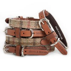 Balmoral Tweed and Leather Dog Collar , £42.00