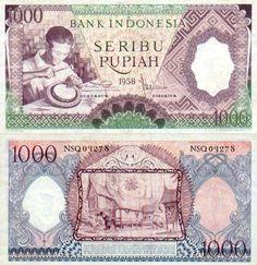 Indonesia  1000 Rupiah 1958 (green)