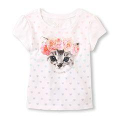 Toddler Girls Short Sleeve Flower Crown Cat Graphic Tee