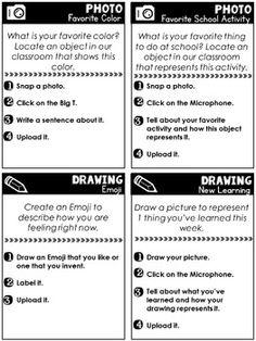 Seesaw Portfolio Task Cards: Back To School