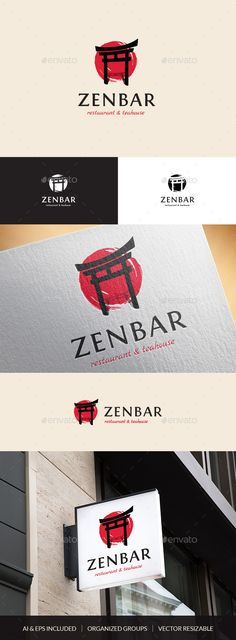 ZenBar Asian Restaurant & Teahouse Logo Template — Vector EPS #logo #bar • Download ➝ https://graphicriver.net/item/zenbar-asian-restaurant-teahouse-logo-template/19625189?ref=pxcr