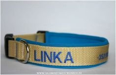 hand crafted dog collar with dog's name and owner's phone no.