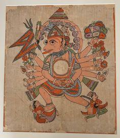 Photograph-Hanuman in His Tantric Five-Headed Pancha Mukha Form, ca. Creator: Photo Print expertly made in the USA Drawing Topics, Hindu Art, Paper Dimensions, Animal Heads, Hanuman, Gods And Goddesses, Watercolor And Ink, Metropolitan Museum, Dibujo