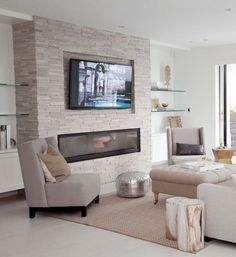 Living Room Tv, Living Room Remodel, Living Room Interior, Home And Living, Family Room Fireplace, Home Fireplace, Fireplace Ideas, Linear Fireplace, Fireplace Design
