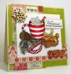 Card by Taylor Usry @Shari Snider Crafts @SpectrumNoir #crafterscompanion Reds: CR8, CR7, CR6 Grey: IG4, IG2, IG1, blender Greens: DG4, DG2 Pinecone: TN8, N7, GB10 Berries: TB9, TB8, BGR3 Bow: EB2, EB1 Cookies, Cinnamon Sticks: TN5, TN4, TN3 Bell: OR1, GB5, GB4 Shadow: BG6, BG4, BG2
