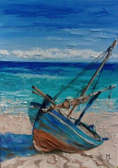 Monika Luniak – Paintings for Sale - Malerei Landscape Art, Landscape Paintings, Tableau Pop Art, Sailboat Painting, Boat Art, Seascape Paintings, Art Paintings, Beautiful Paintings, Paintings For Sale