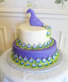 peacock baby shower cake