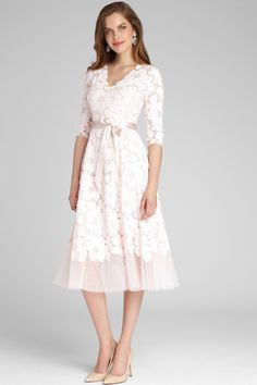 ¾ Sleeve Lace and Tulle Fit and Flare Dress Mother Of Groom Dresses, Mothers Dresses, Mother Of The Bride, Bride Groom Dress, Groom Outfit, V Neck Wedding Dress, Classic Wedding Dress, Wedding Dresses, Mob Dresses