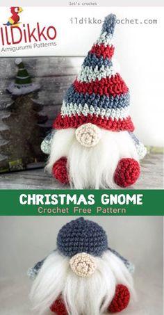 amigurumi # 60955 shared by Toni at Tue Crochet Christmas Decorations, Crochet Ornaments, Holiday Crochet, Christmas Knitting, Crochet Gifts, Diy Crochet, Crochet Dolls, Christmas Gnome, Crochet Angels