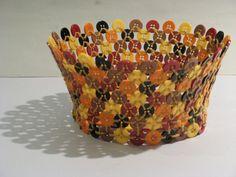 ButtonArtMuseum.com - Vintage Folk Art Basket Made of Buttons