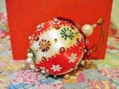 Vintage Beaded Satin Ornament, Beaded Christmas Ornament, Red White Sequin Ornament, Mid Century Starburst Ornament, Yule Ornament, Flower by LuckyPennyTrading on Etsy