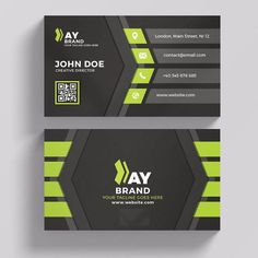 Modern green and black business card Template