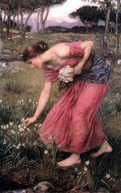 Narcissus by John William Waterhouse    A very interesting painting. As one can see in here, there is good sense of the colors and the tones in this work. I also like the background with the trees. This is a delightful work.