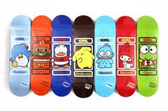 Sanrio skatedecks for girls! I would have to go with Tuxedo Sam or Keroppi
