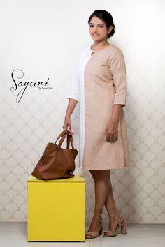 5e7e6a96da6 Cotton Linen Dress in Beige  White. Sayuri Design Studio