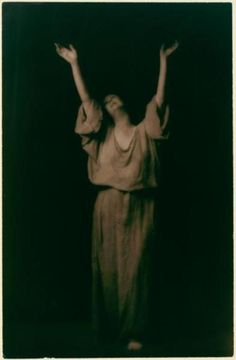 Isadora Duncan. This photo was her favourite she wrote. At this very moment  she felt the presence of Deirdre and Patrick, her two small children lost in a car accident in 1913. photo Arnold Genthe - c. 1915-1918