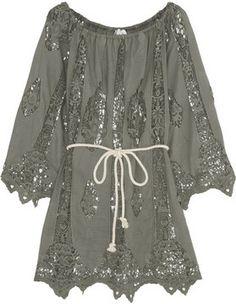ZARA EMBROIDERED LACE Kimono Kaftan Blouse Camicia Giacca pizzo ricamo SIZE M