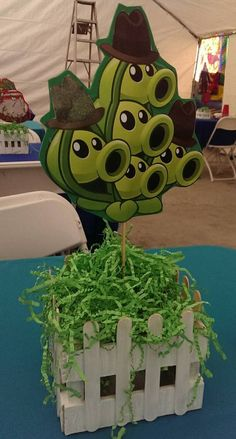 Items similar to Plants vs. Zombies Centerpiece on Etsy Golden Birthday Parties, Zombie Birthday Parties, Boy Birthday, Plants Vs Zombies, Zombies Vs, Dulceros Halloween, Halloween Themes, Zombie Party Decorations, Zombie Themed Party