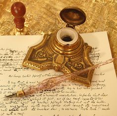 Ink well, ink pen, candle and wax seal... must haves in my writing room...