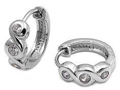 Nabelung's Three-Stone Art Deco Swirls CZ Huggie Hoop Earrings #CubicZirconia