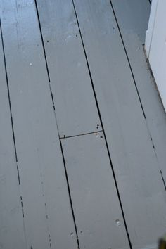 painted flooring Painted Floorboards using Ronseal Diamond Hard Floor Paint (slate grey) Hall Flooring, Living Room Flooring, Grey Flooring, Bedroom Flooring, Hardwood Floors, Painted Wooden Floors, Painted Slate, Painted Stairs, Painted Furniture