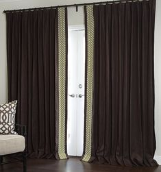 Estate Belgian Linen in Chocolate with Edge-Band in Celerie Kemble Betwixt - Parisian Pleat Curtains And Draperies, Drapery, Celerie Kemble, Custom Curtains, Curtain Fabric, Window Treatments, Fabric Design, Windows, Band